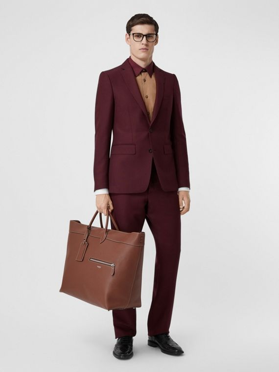 English Fit Wool Mohair Tailored Jacket in Deep Burgundy