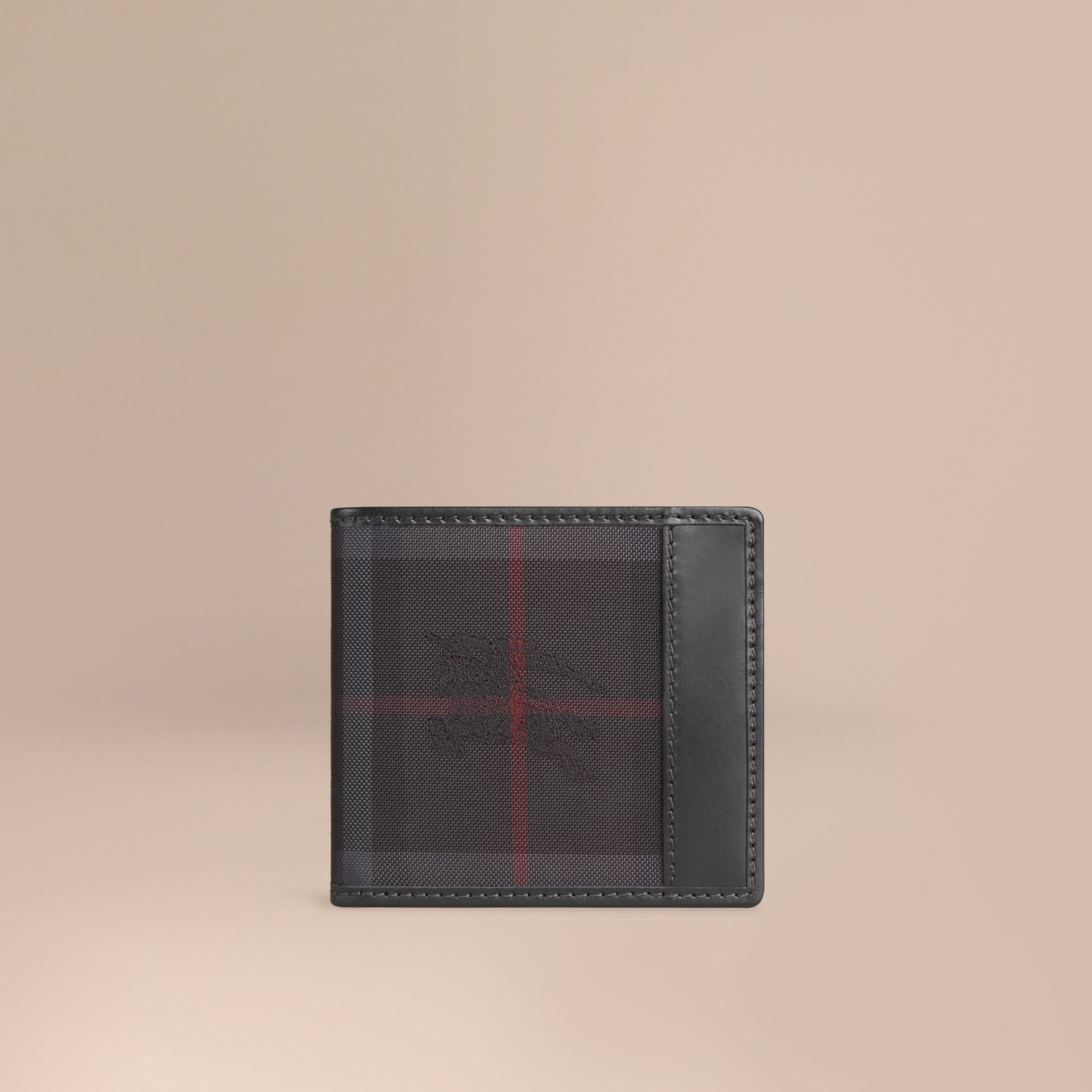 Horseferry Check Folding Coin Wallet Charcoal/black - gallery image 1