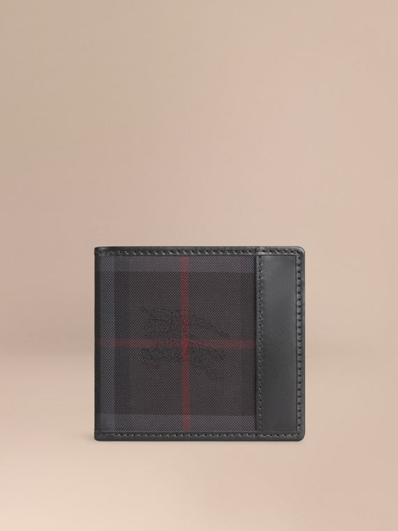 Horseferry Check International Bifold Coin Wallet in Charcoal/black