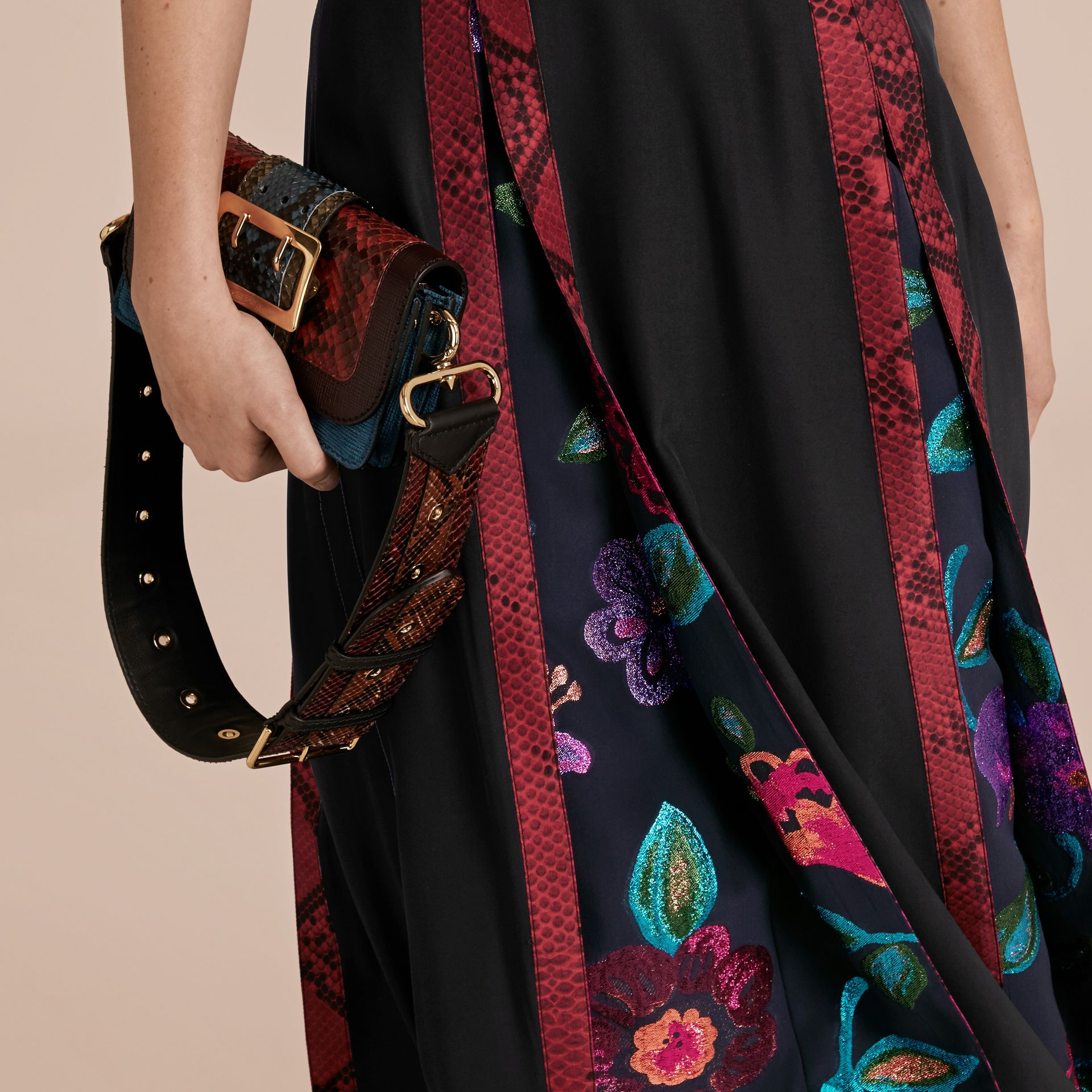 Black Silk Dress with Floral and Python Print Panels - gallery image 5