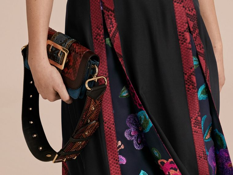 Black Silk Dress with Floral and Python Print Panels - cell image 4