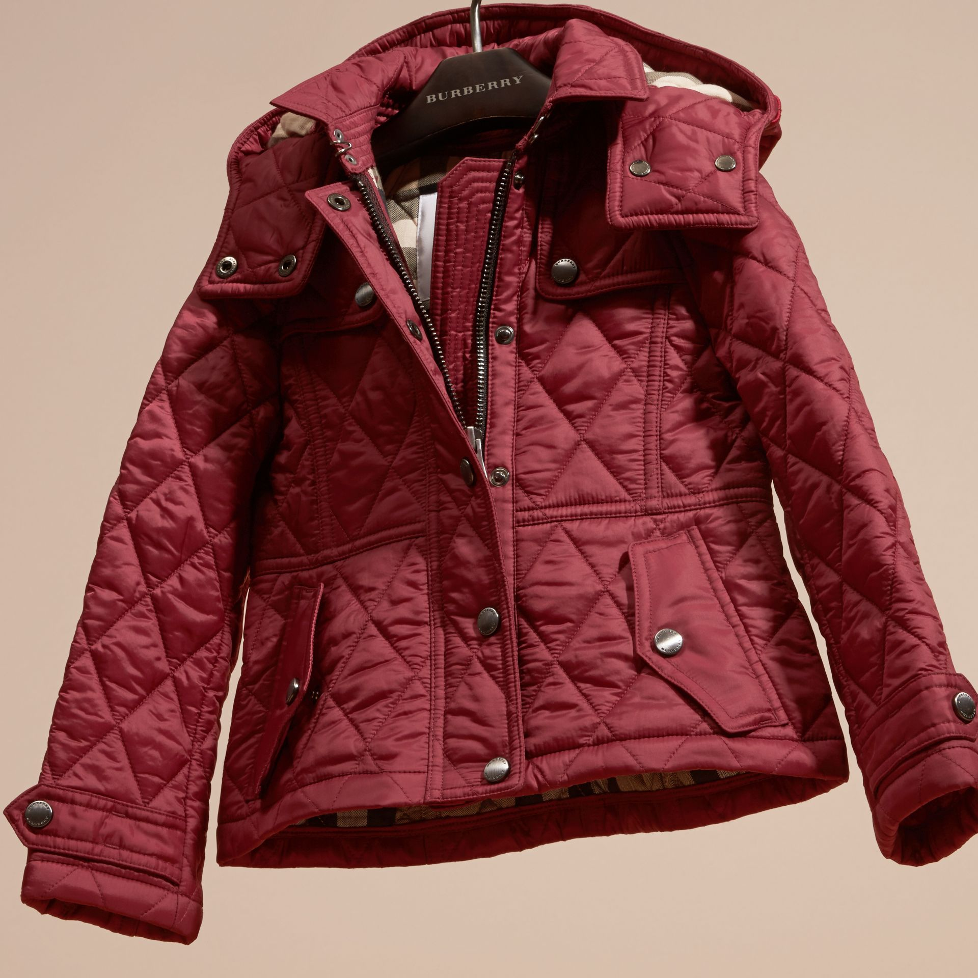 Dark plum pink Quilted Nylon Jacket with Detachable Hood - gallery image 3