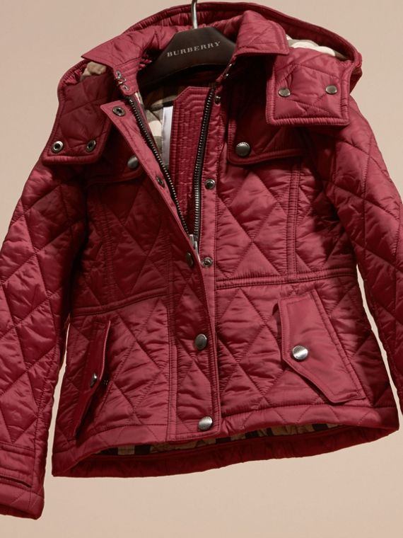 Dark plum pink Quilted Nylon Jacket with Detachable Hood - cell image 2