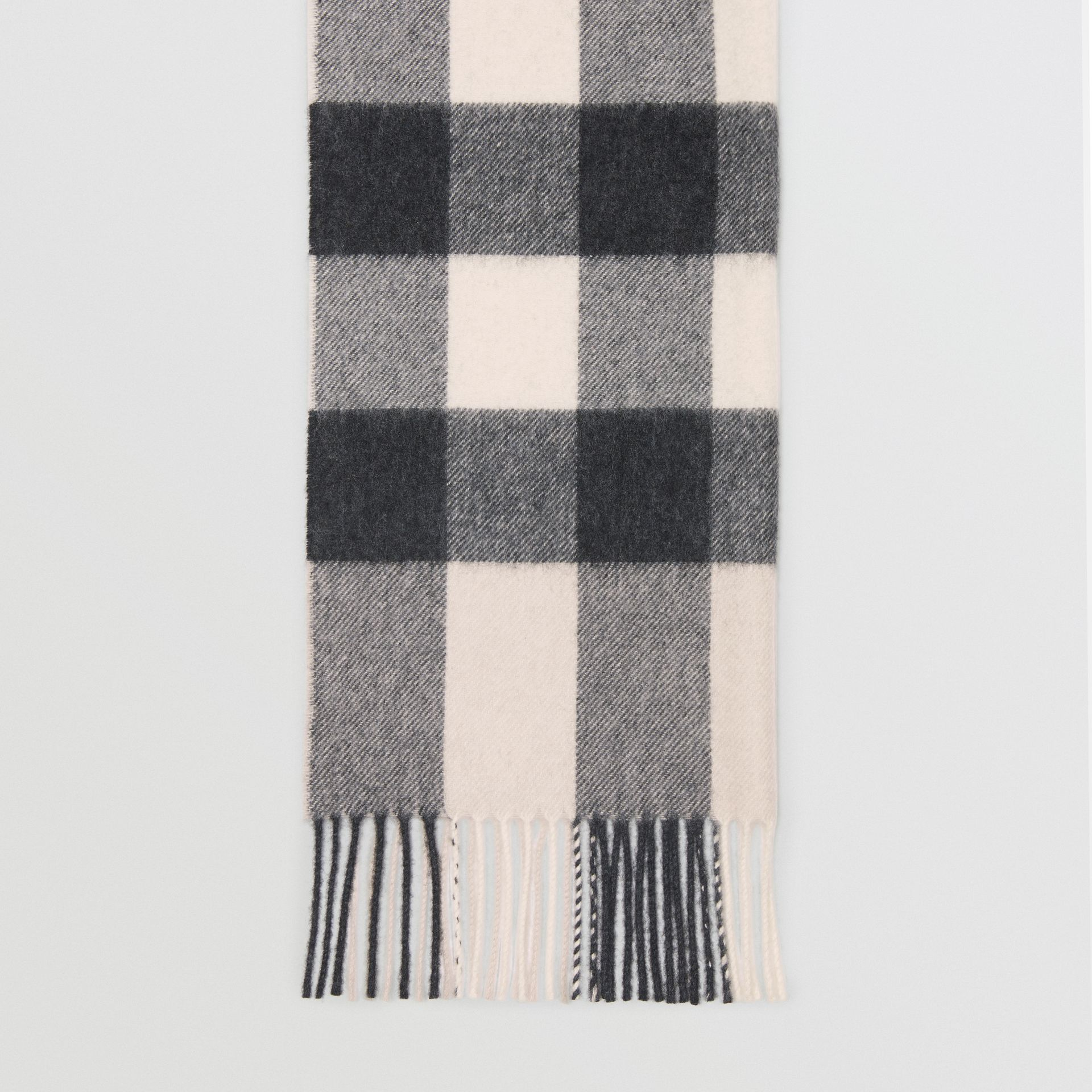 Check Cashmere Scarf in Stone | Burberry United Kingdom - gallery image 3