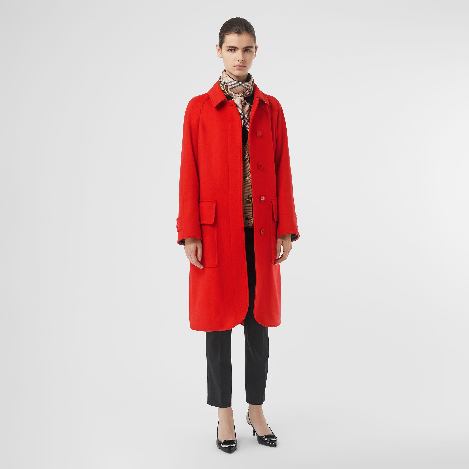 Cashmere Car Coat in Bright Red - Women | Burberry - gallery image 0