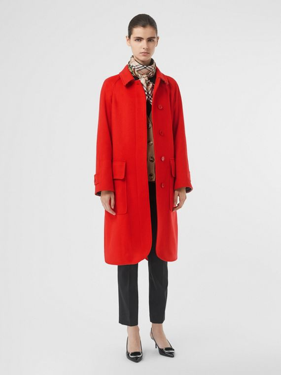 Cashmere Car Coat in Bright Red