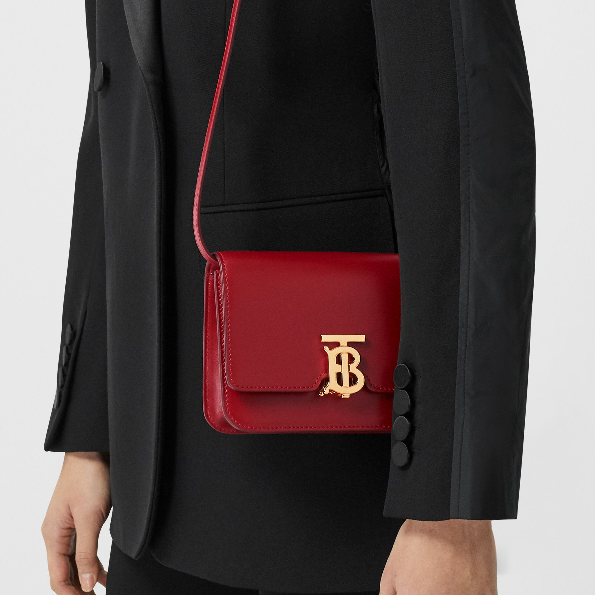 Mini Leather TB Bag in Dark Carmine - Women | Burberry - gallery image 8
