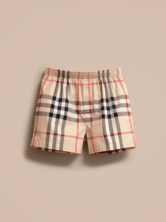 Check Twill Cotton Boxer Shorts in New Classic - Men | Burberry
