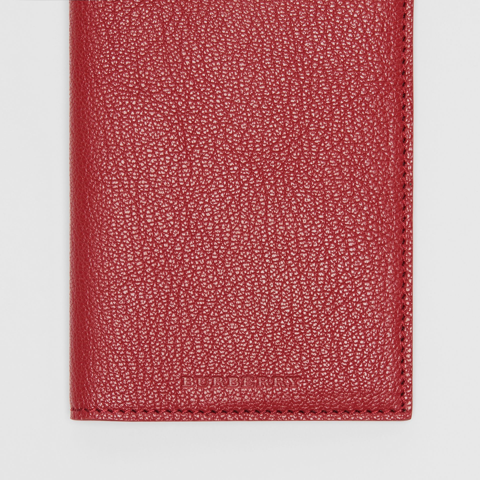 Leather Passport Holder in Crimson | Burberry - gallery image 1
