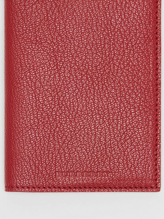 Leather Passport Holder in Crimson | Burberry United Kingdom - cell image 1