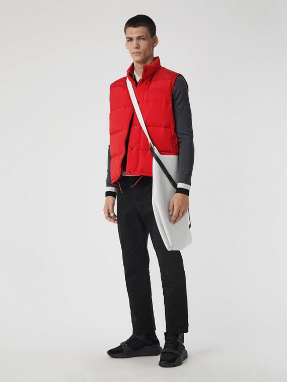 Embroidered Archive Logo Down-filled Gilet in Bright Red