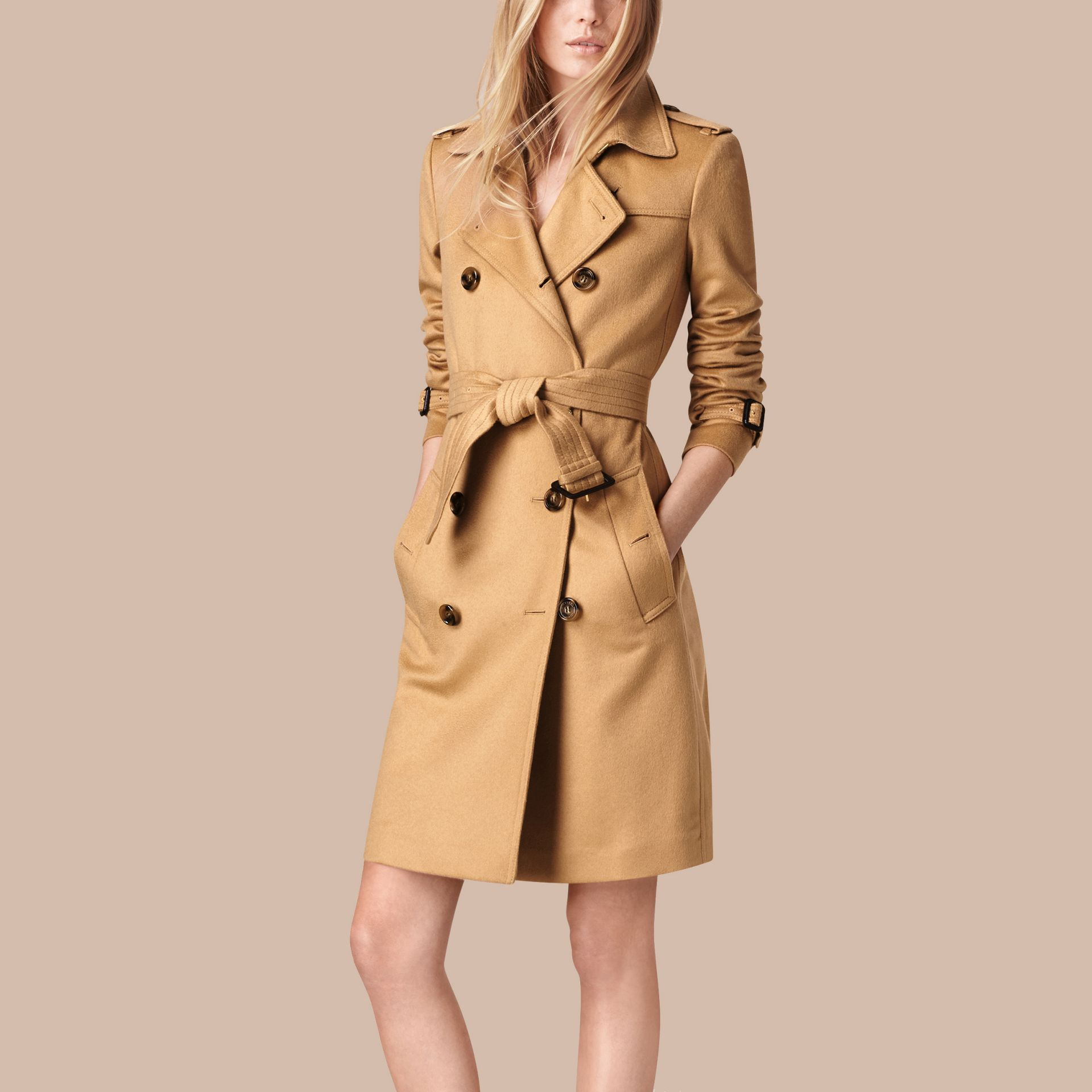Camel Kensington Fit Cashmere Trench Coat Camel - gallery image 4