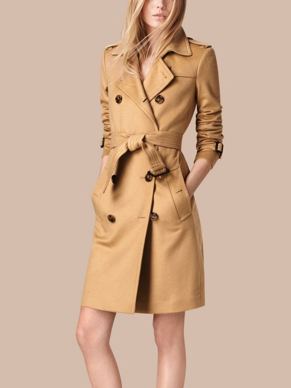 Camel Kensington Fit Cashmere Trench Coat Camel - cell image 3