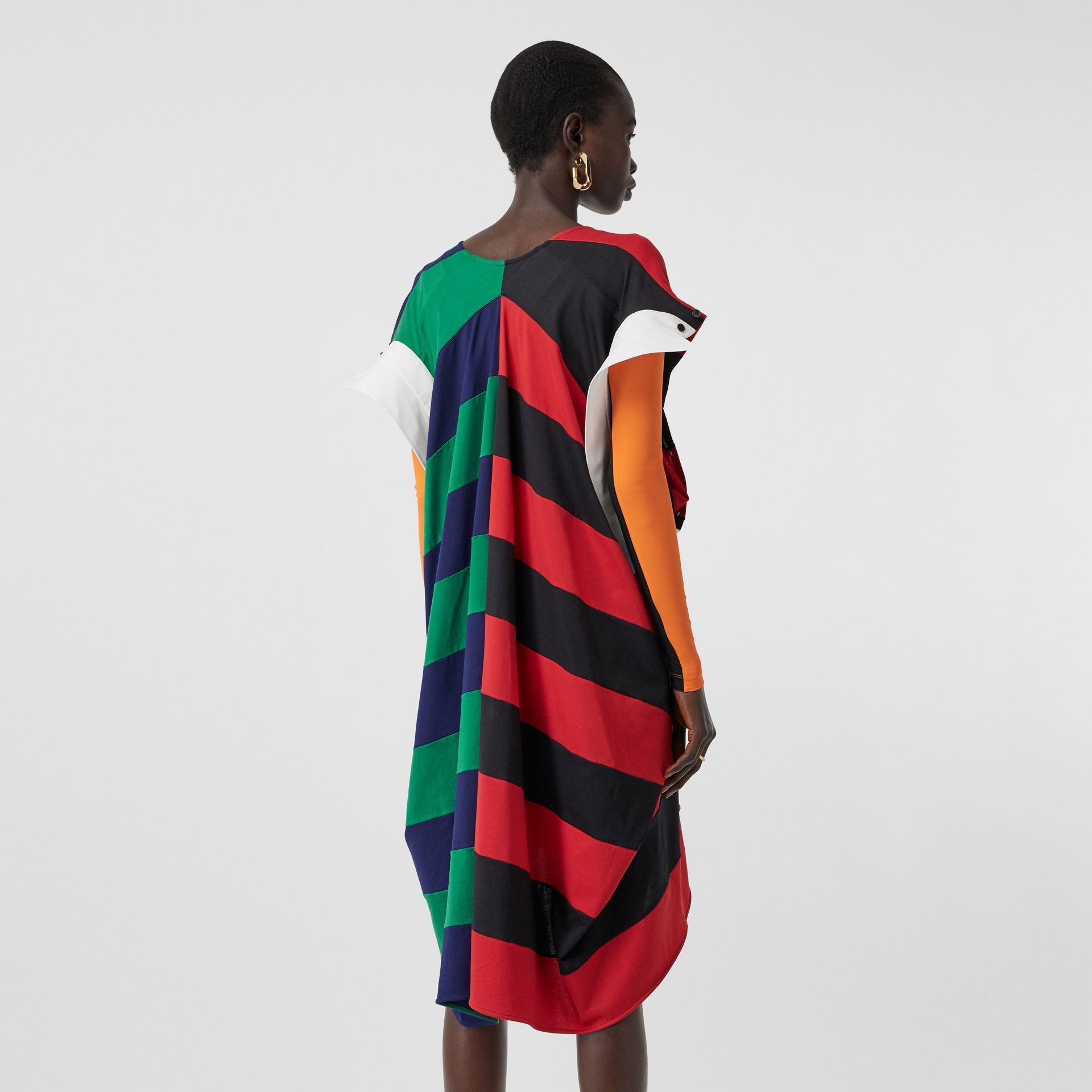 Striped Cotton Reconstructed Rugby Shirt Dress in Bright Red - Women | Burberry United States - gallery image 2