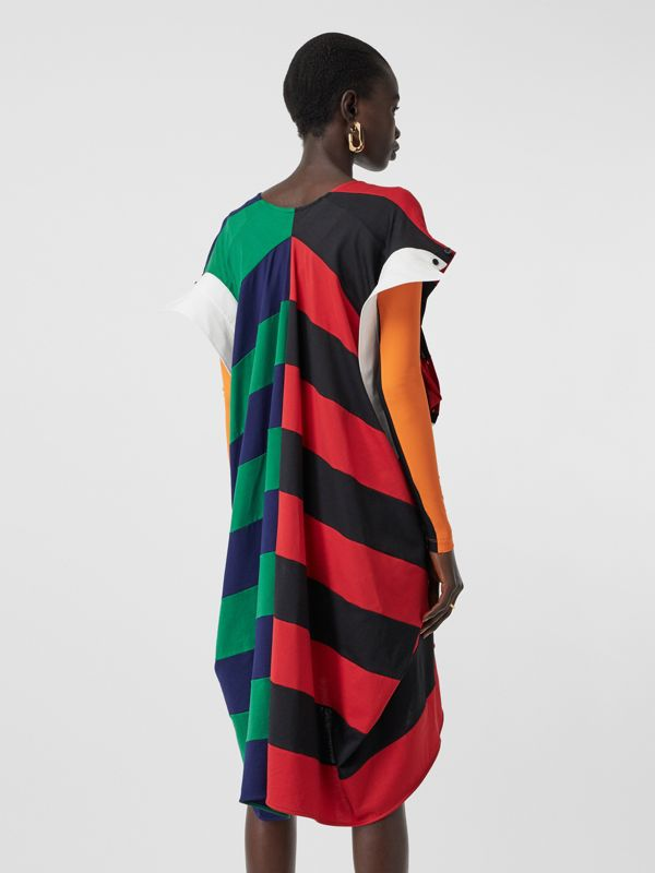 Striped Cotton Reconstructed Rugby Shirt Dress in Bright Red - Women | Burberry - cell image 2