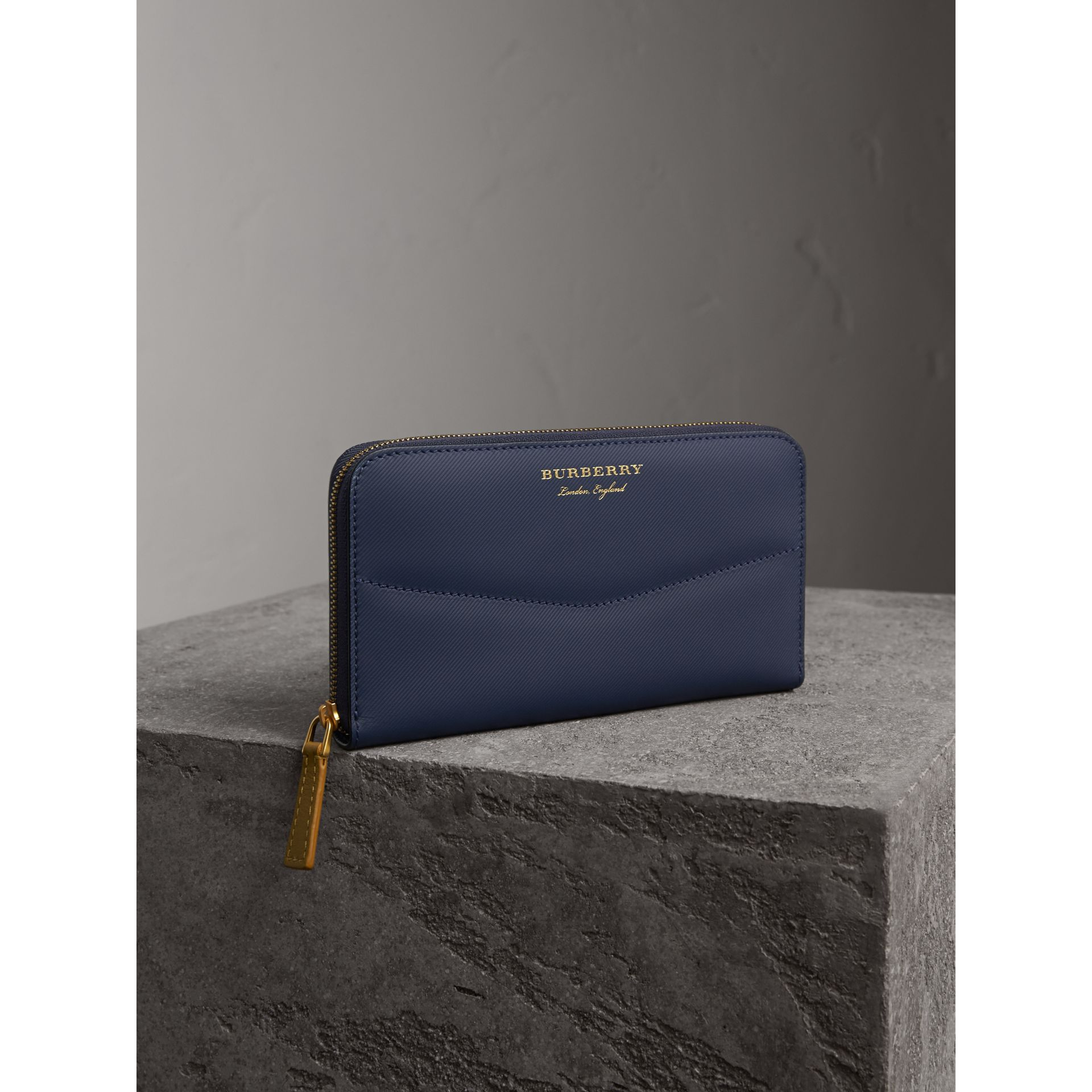 Two-tone Trench Leather Ziparound Wallet in Ink Blue/ochre Yellow - gallery image 1