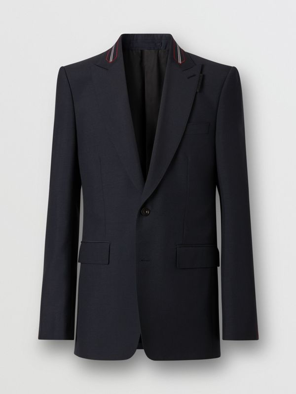 English Fit Stripe Detail Wool Mohair Tailored Jacket in Navy | Burberry - cell image 3
