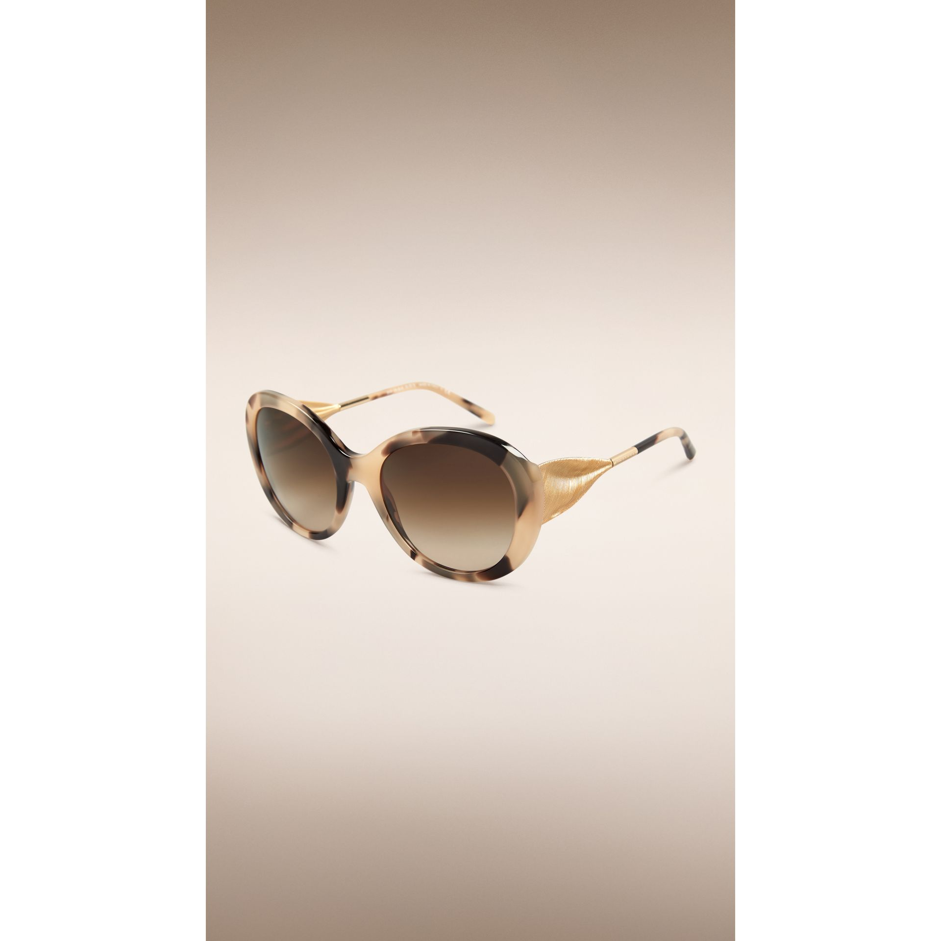 Gabardine Collection Oversize Round Frame Sunglasses in Mid Tone Horn - gallery image 1