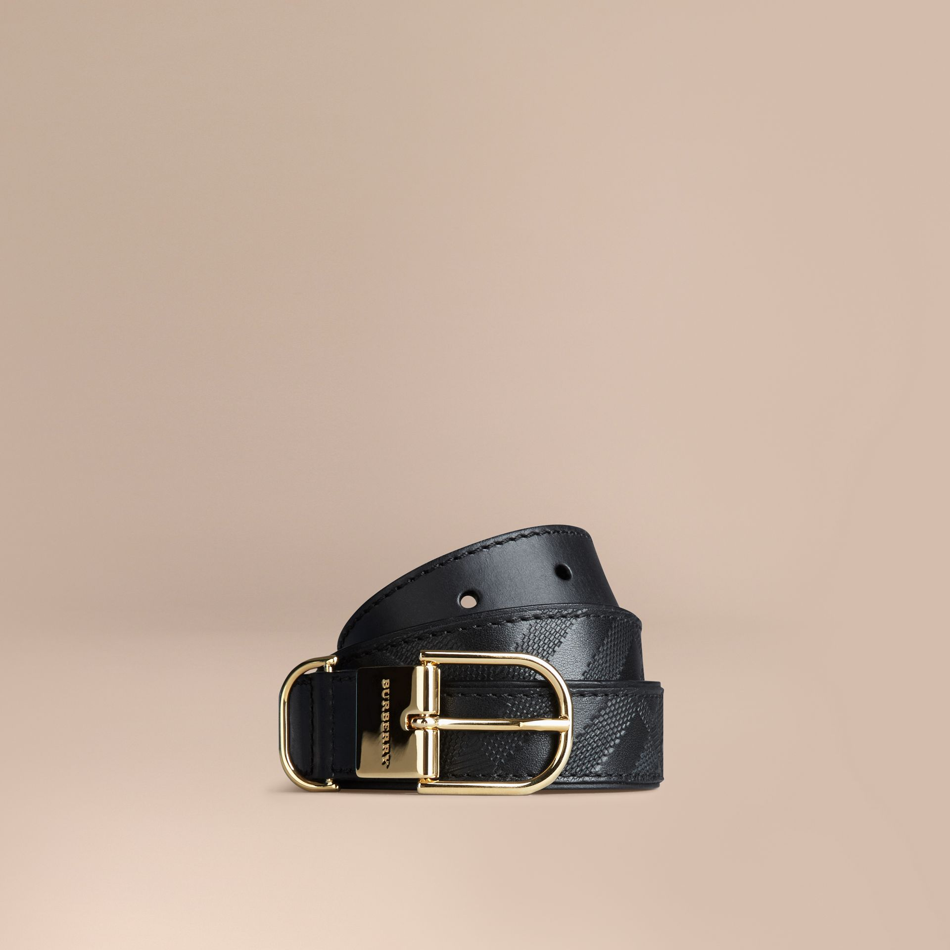 Black Embossed Check London Leather Belt Black - gallery image 1