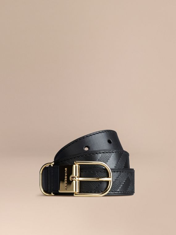 Embossed Check London Leather Belt Black