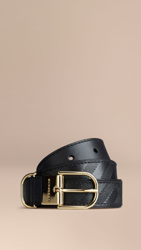 Black Embossed Check London Leather Belt Black - Image 1
