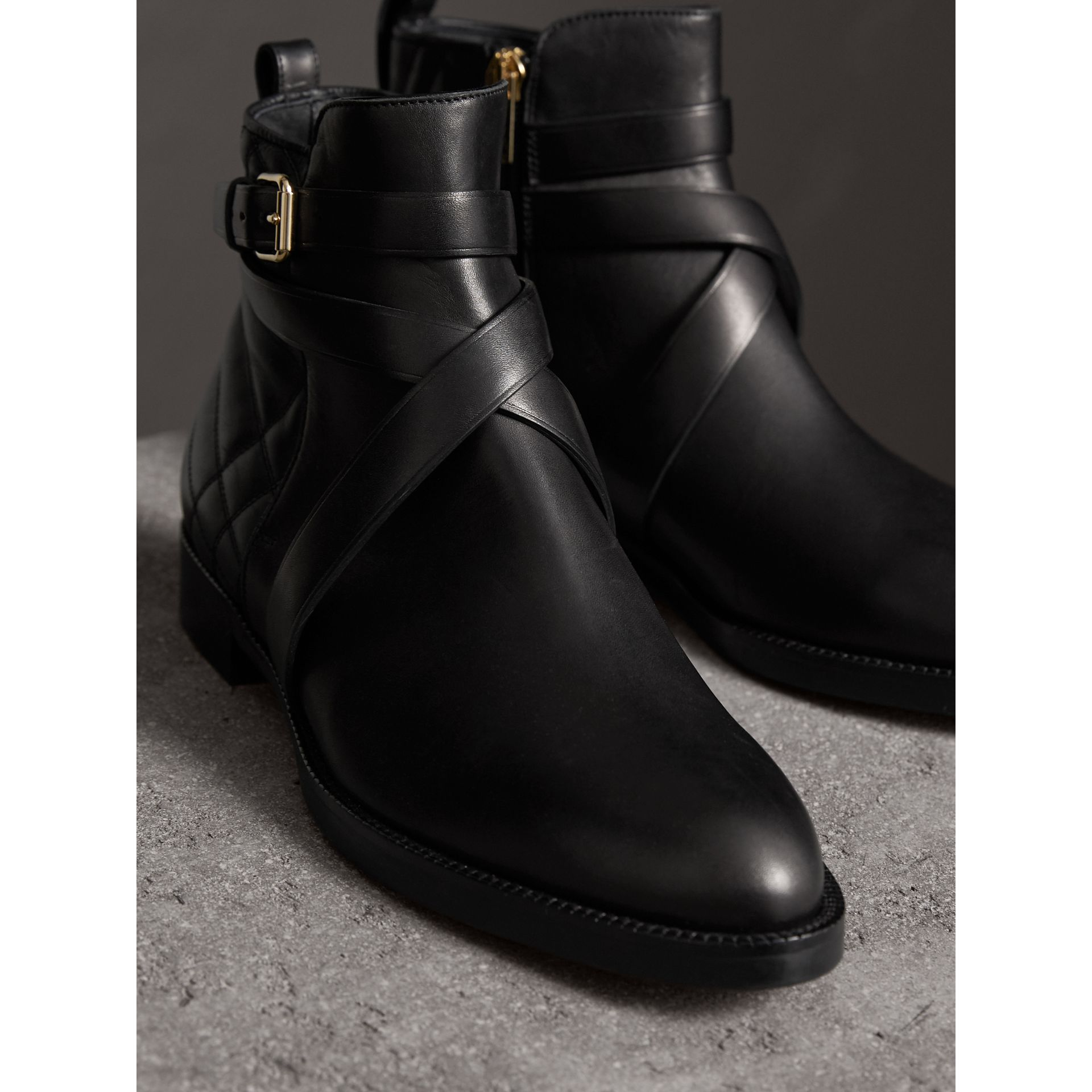 Strap Detail Quilted Leather Ankle Boots in Black - Women | Burberry Australia - gallery image 4