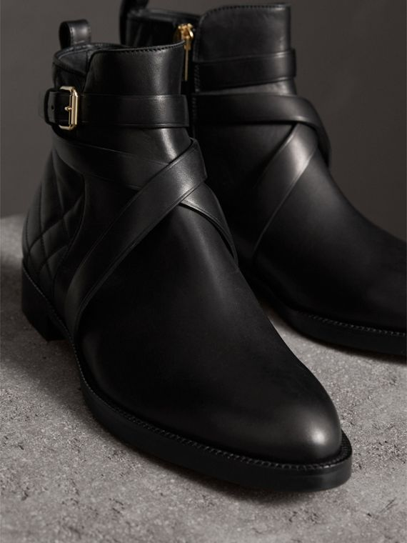 Strap Detail Quilted Leather Ankle Boots in Black - Women | Burberry Australia - cell image 3