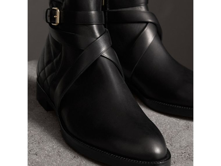 Strap Detail Quilted Leather Ankle Boots in Black - Women | Burberry Australia - cell image 4