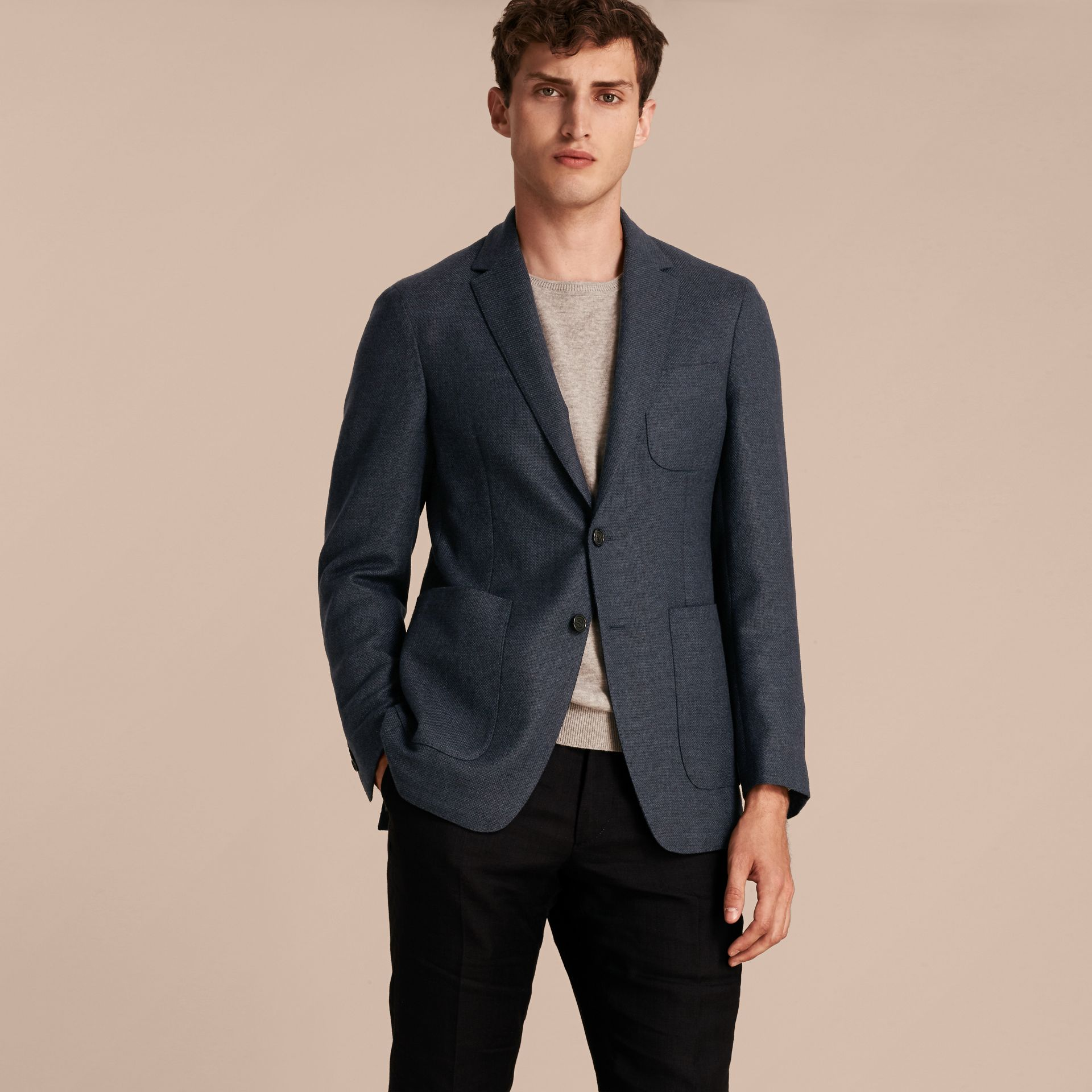 Storm blue Modern Fit Wool Cashmere Hopsack Tailored Jacket - gallery image 7
