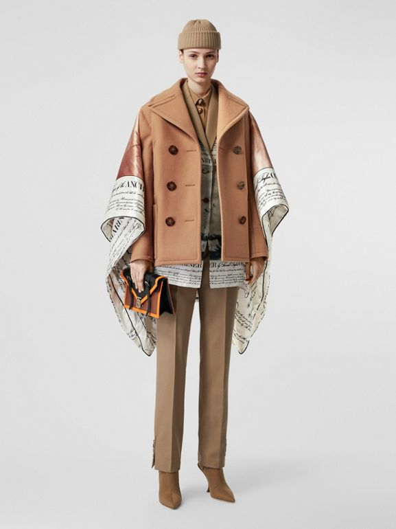 Mariner Print Blanket Detail Technical Wool Pea Coat in Warm Camel - Women | Burberry United Kingdom - cell image 1
