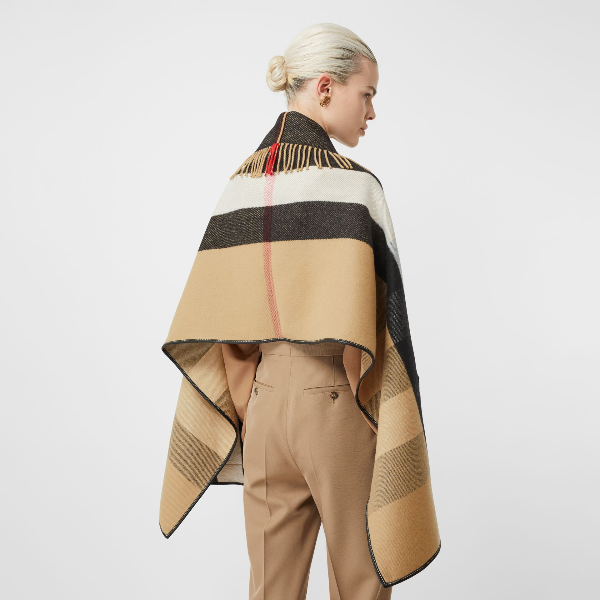 Check Wool Cashmere Jacquard Cape in Archive Beige - Women | Burberry - gallery image 2