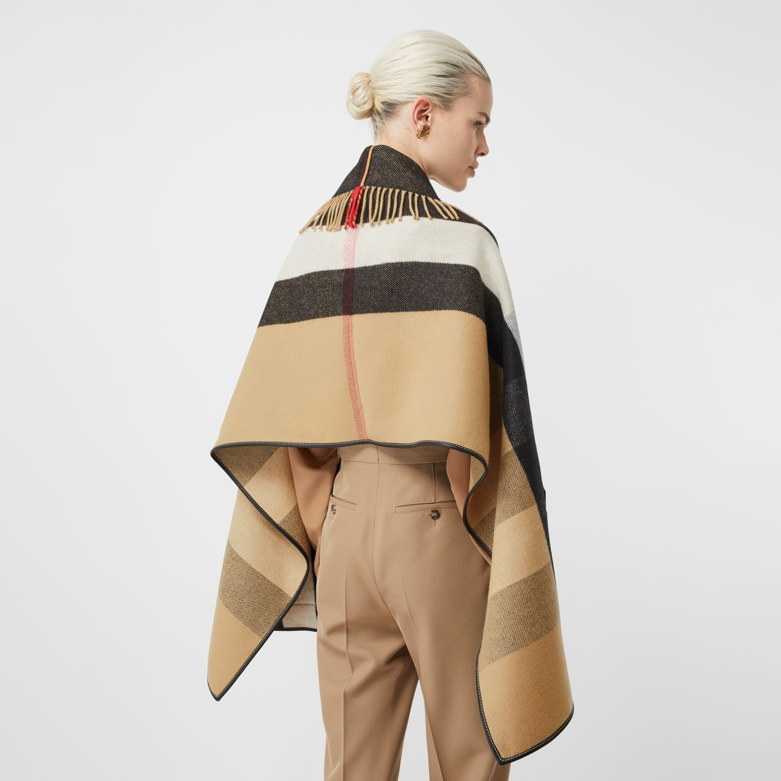Check Wool Cashmere Jacquard Cape in Archive Beige - Women | Burberry - 3