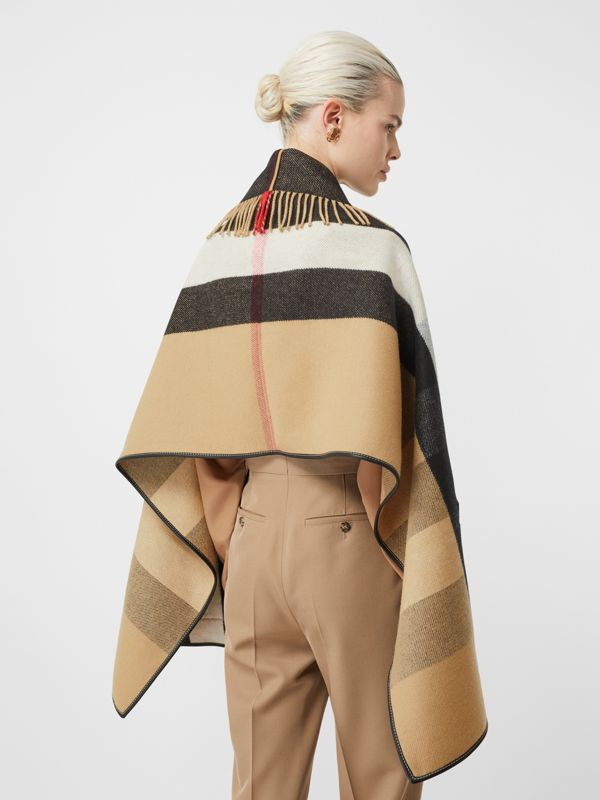 Check Wool Cashmere Jacquard Cape in Archive Beige - Women | Burberry - cell image 2
