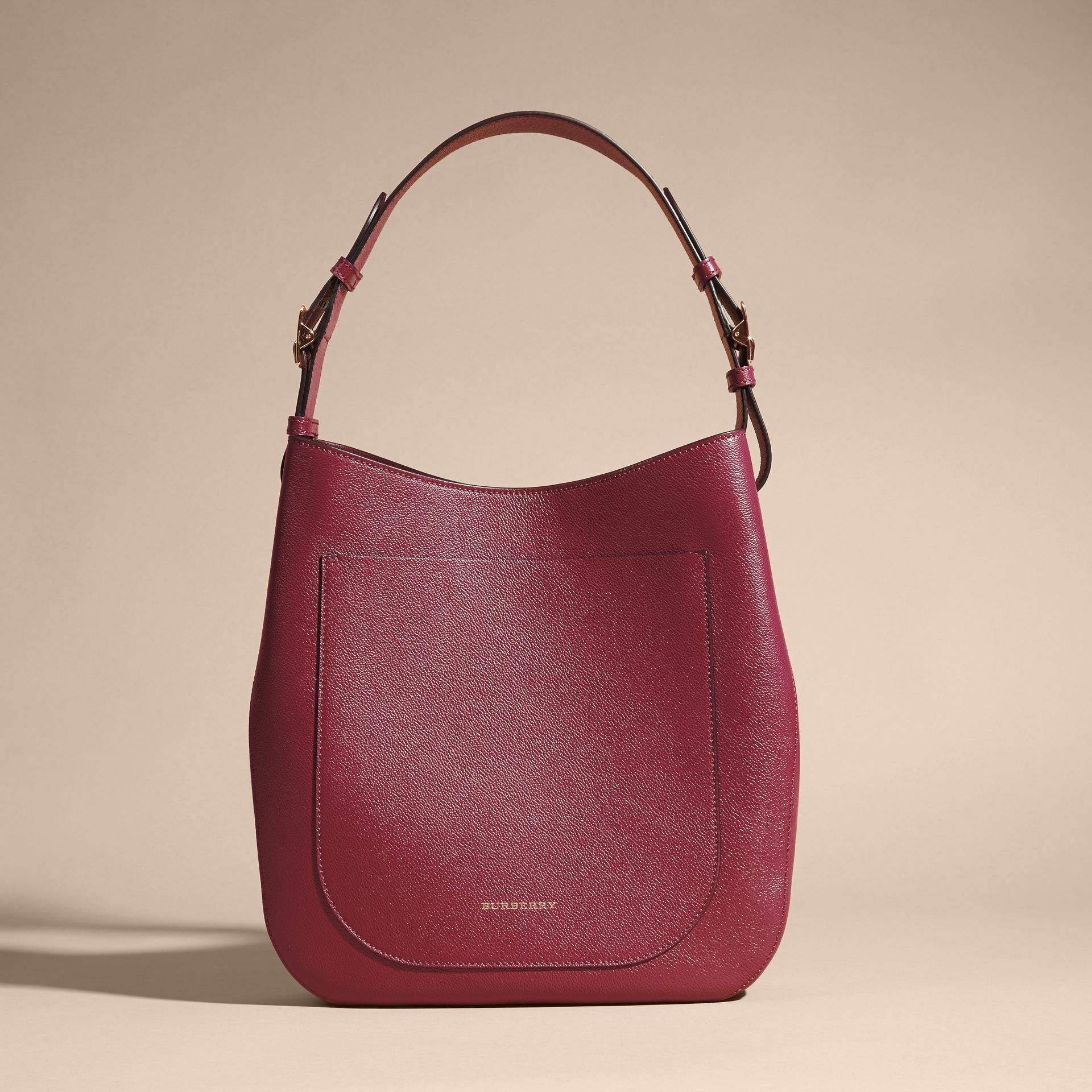 Textured Leather Shoulder Bag in Dark Plum - gallery image 8