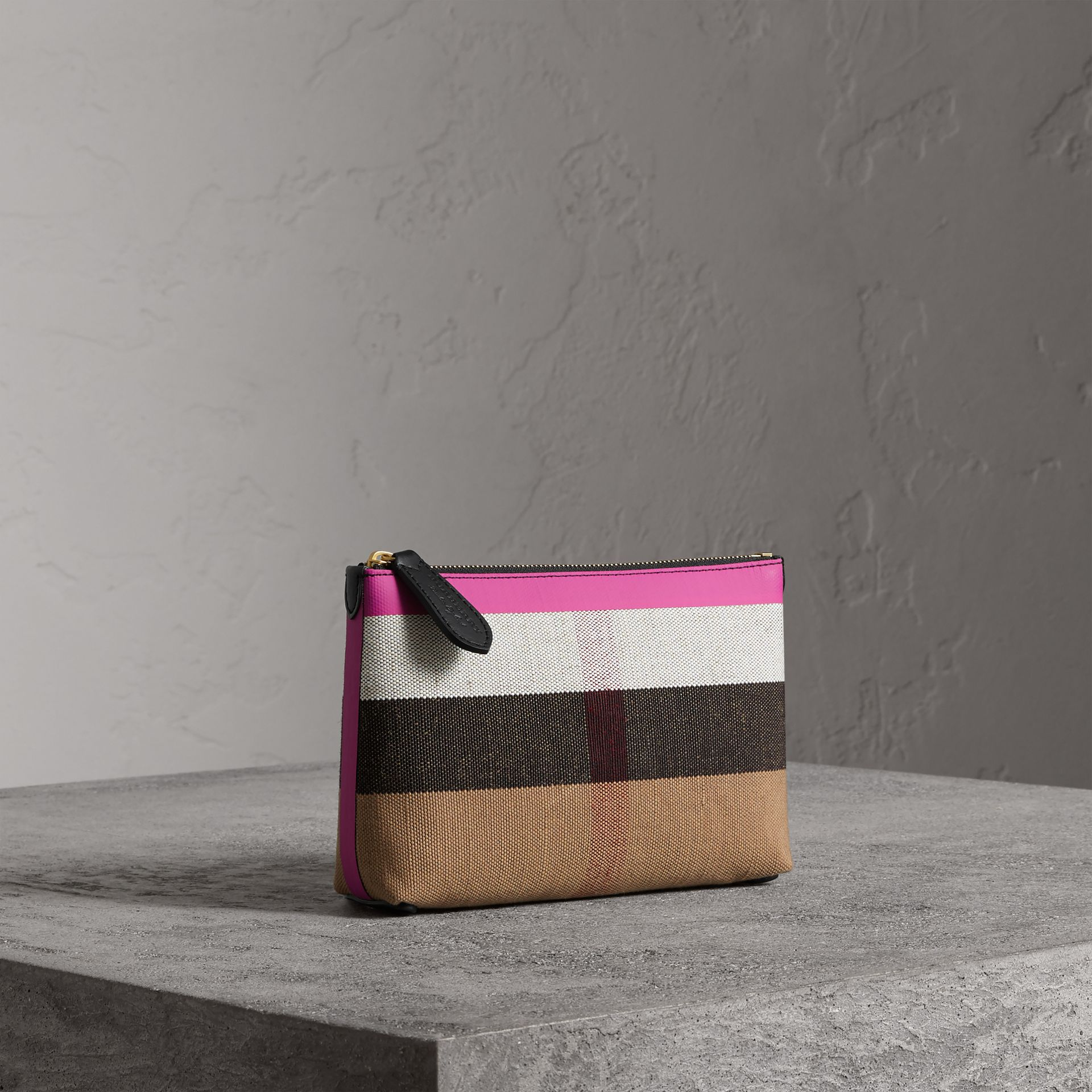 Medium Check Canvas and Leather Zip Pouch in Black/neon Pink - Women | Burberry - gallery image 6