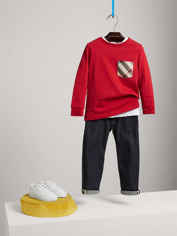 Long-sleeve Check Pocket Cotton T-shirt in Military Red - Boy | Burberry - cell image 2