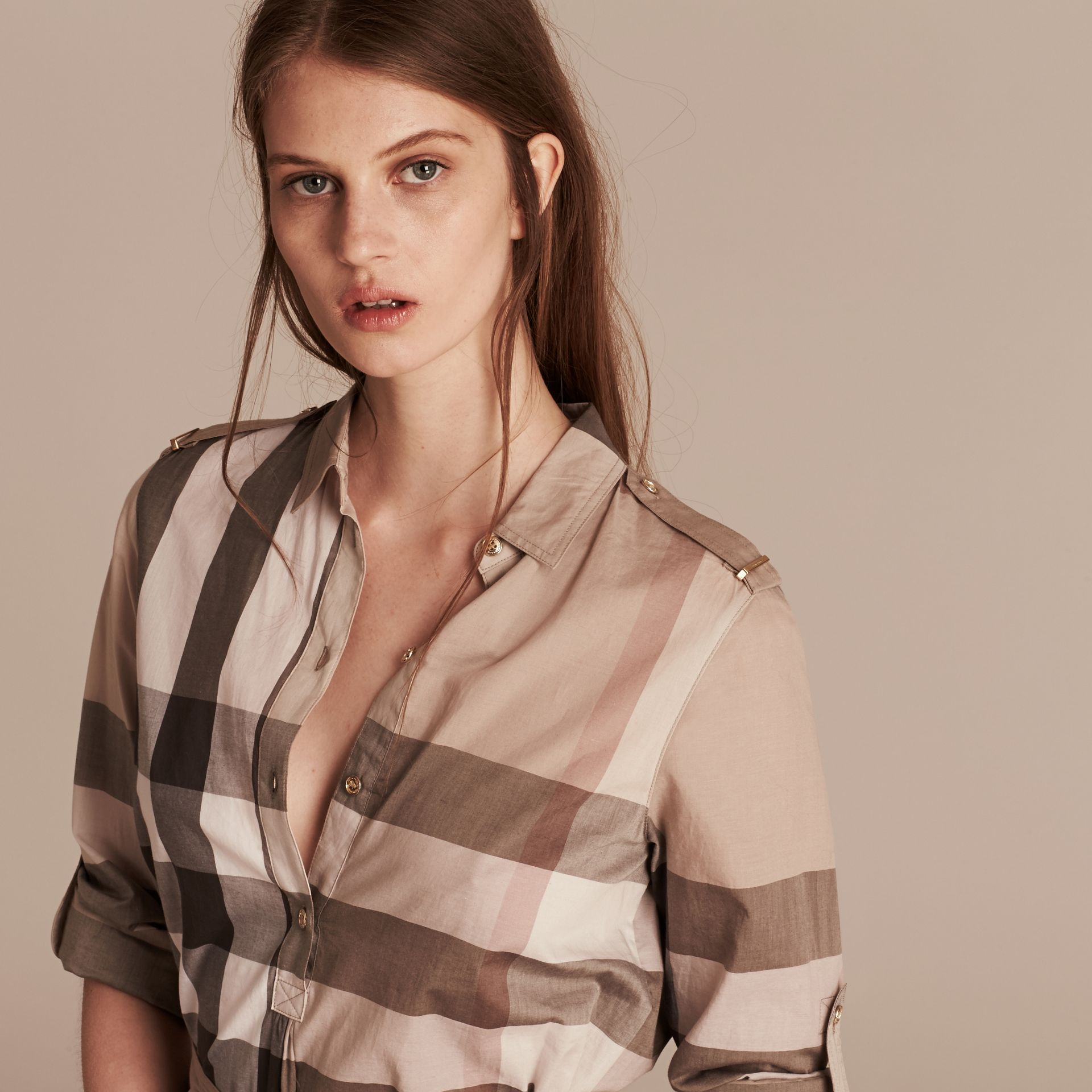 Pale stone Check Cotton Shirt Dress Pale Stone - gallery image 6