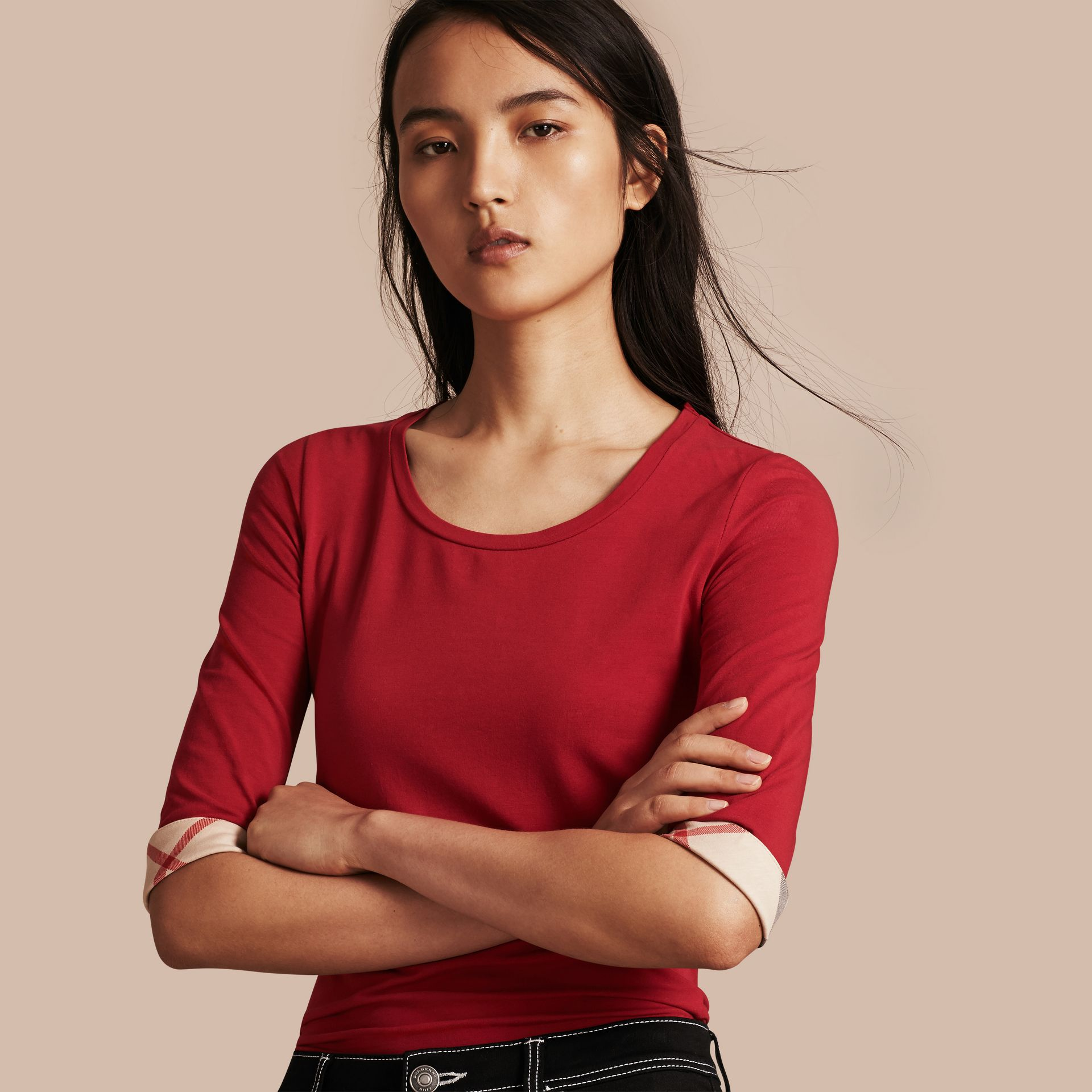 Check Cuff Stretch-Cotton Top in Lacquer Red - Women | Burberry - gallery image 1