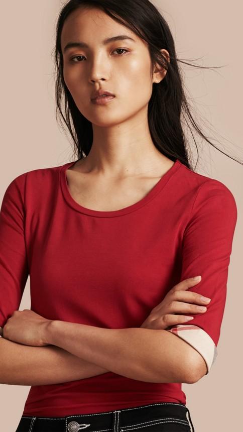 Rouge laque Haut en coton extensible avec revers à motif check Rouge Laque - Image 1