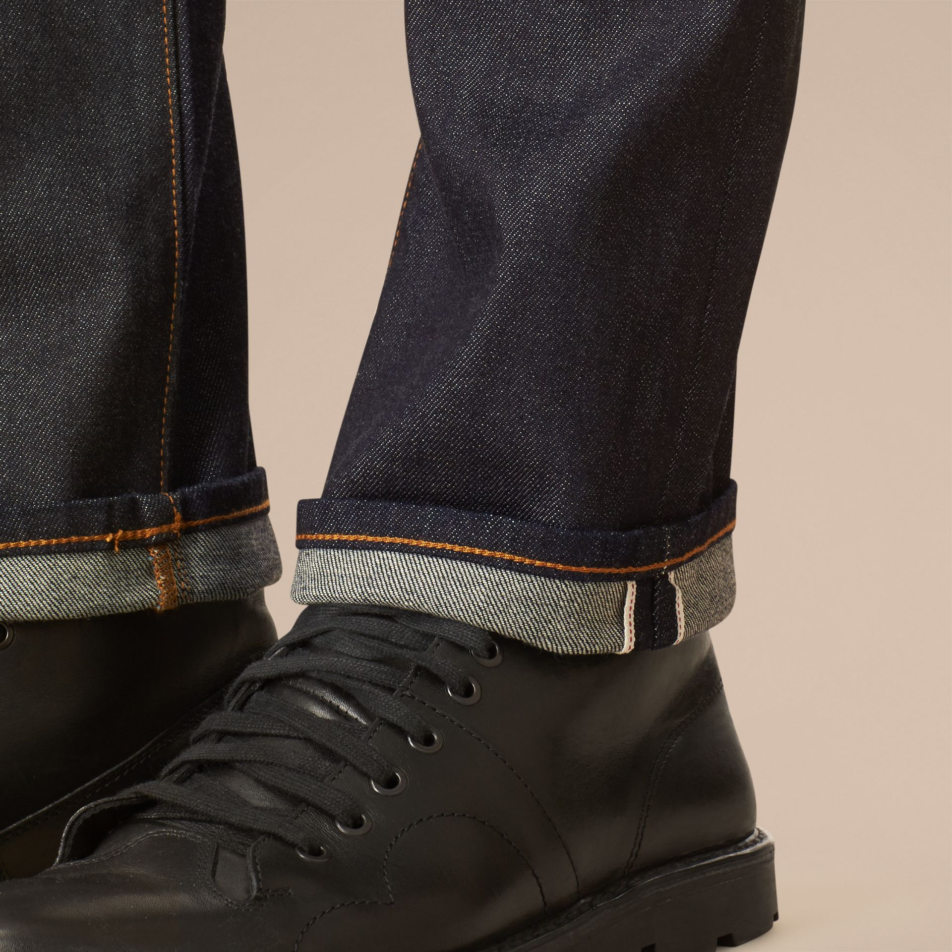 Dark indigo Straight Fit Selvedge Jeans - gallery image 4