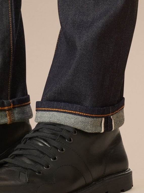 Dark indigo Straight Fit Selvedge Jeans - cell image 3