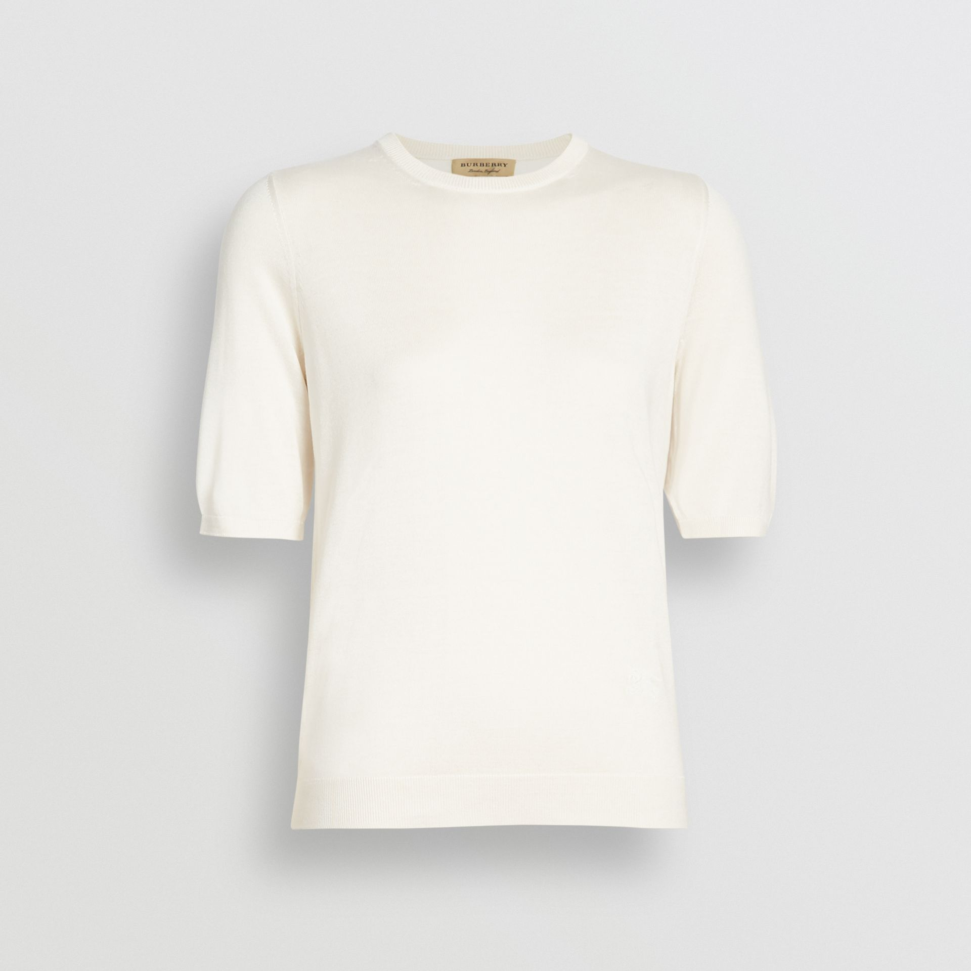 Short-sleeve Silk Cashmere Sweater in Natural White - Women | Burberry Australia - gallery image 3