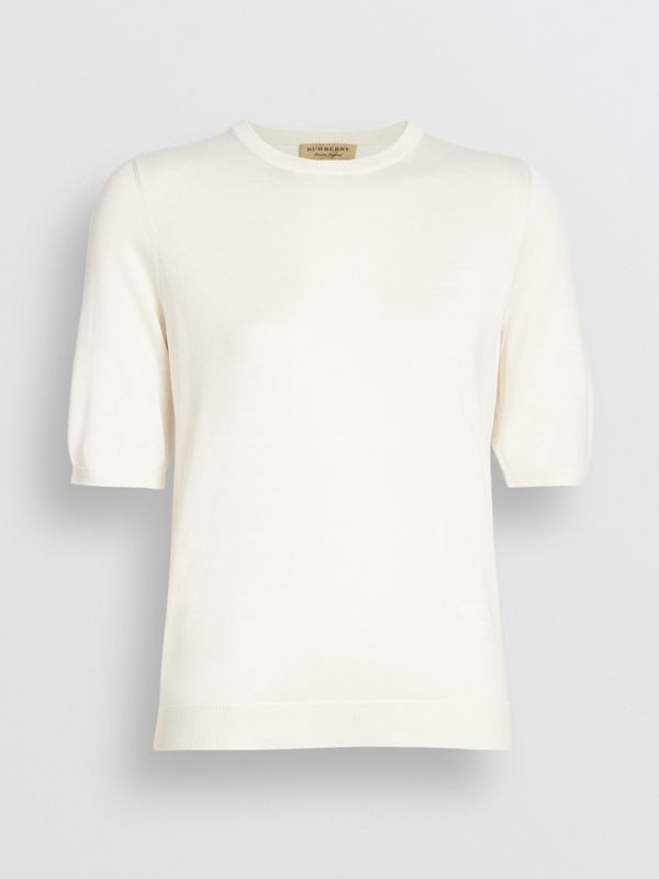 Short-sleeve Silk Cashmere Sweater in Natural White - Women | Burberry Australia - cell image 3
