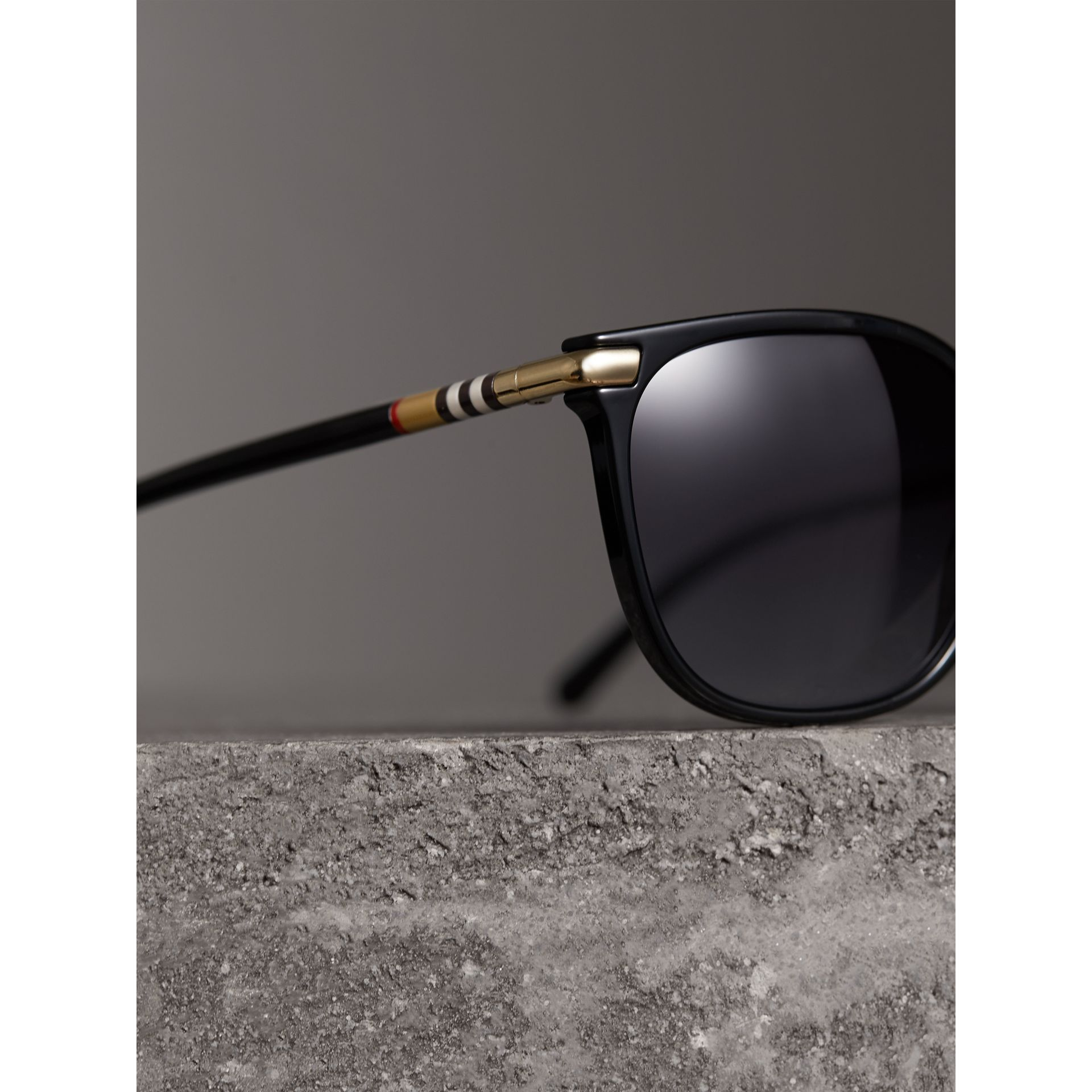 Check Detail Square Frame Sunglasses in Black - Women | Burberry - gallery image 2