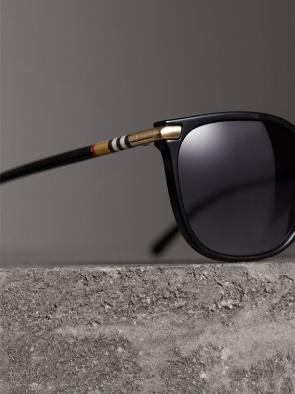 Check Detail Square Frame Sunglasses in Black - Women | Burberry Canada - cell image 1
