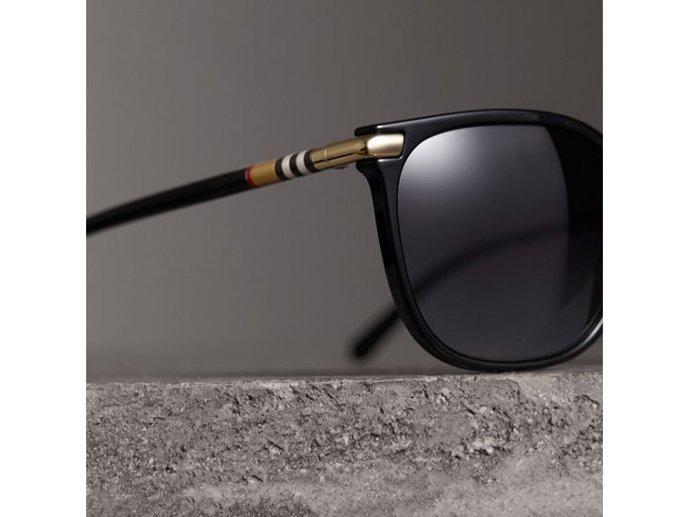 Check Detail Square Frame Sunglasses in Black - Women | Burberry United Kingdom - cell image 1