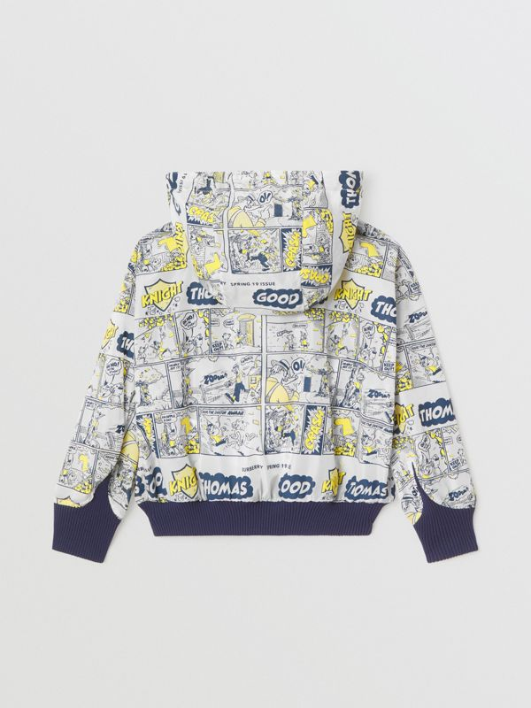 Comic Strip Print Lightweight Hooded Jacket in Citron | Burberry United Kingdom - cell image 2