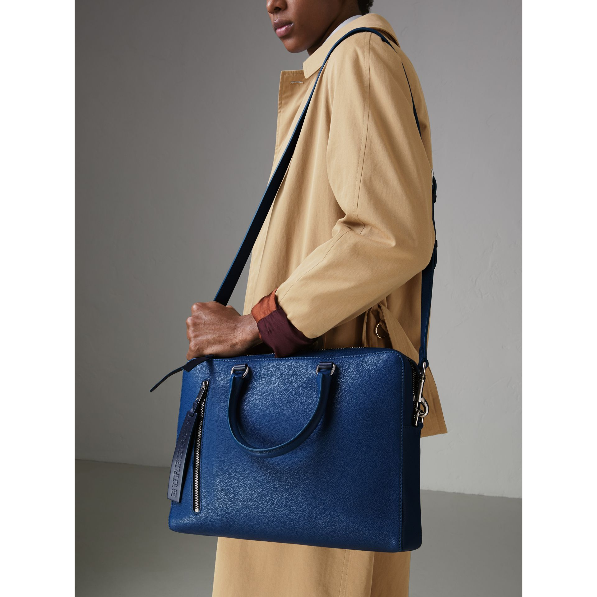 Grainy Leather Briefcase in Bright Ultramarine - Men | Burberry United States - gallery image 3