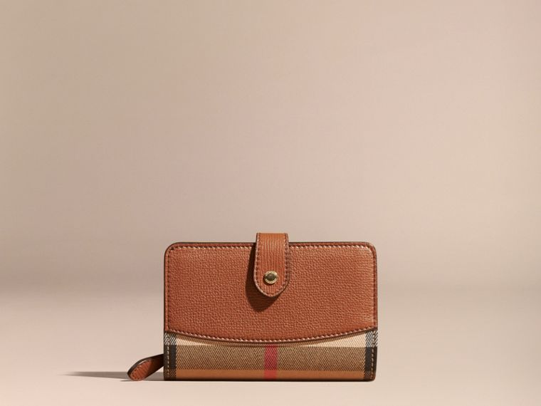 House Check and Leather Wallet Tan - cell image 1