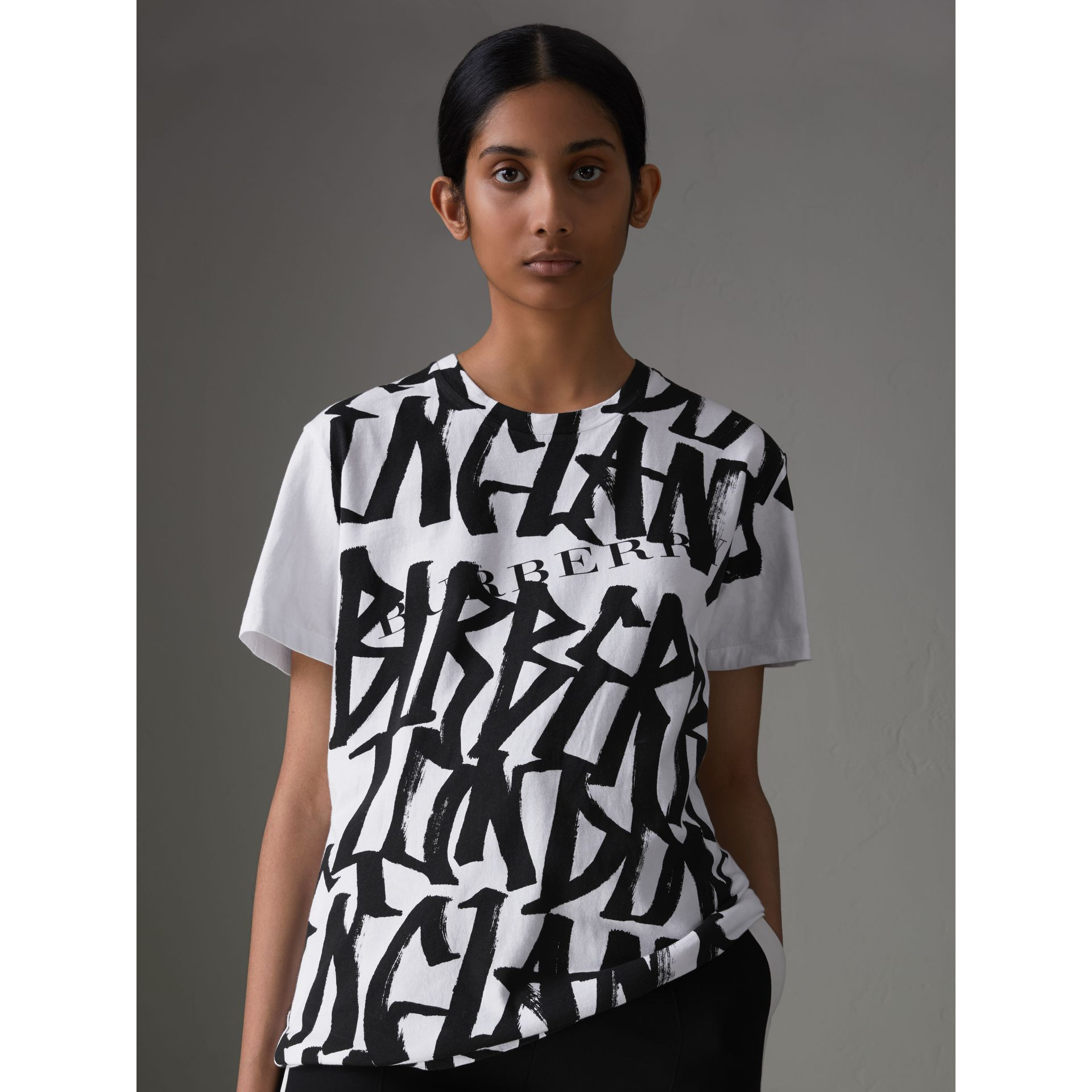 Graffiti Print T-shirt in White - Women | Burberry Canada - gallery image 4